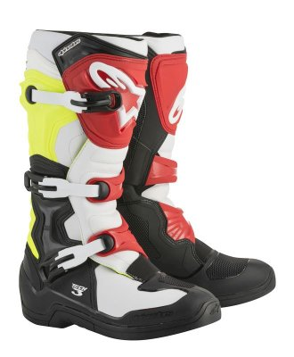 Crossisaappaat Alpinestars Tech 3 musta/valk/fl.kelt/puna