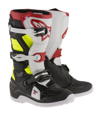 Crossisaappaat Alpinestars Tech 7S Junior musta/valk/pun/fl.kelt